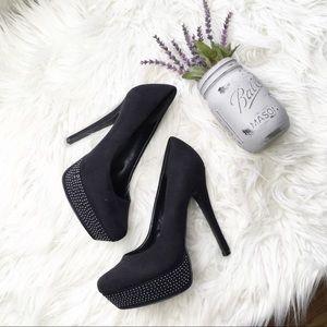 Aldo Benicek 98 Studded Black Platform Pump Heels